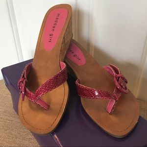 Madden Girl Wallie Fuchsia Cork Wedge Heels Size 7